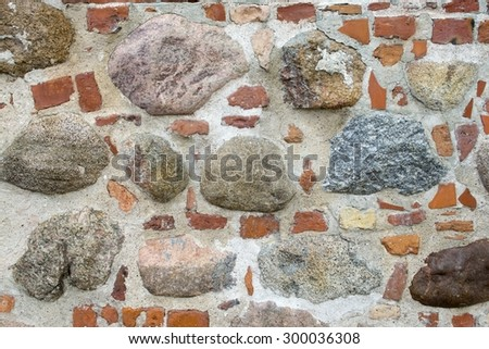 Old fortress wall texture with stones and bricks