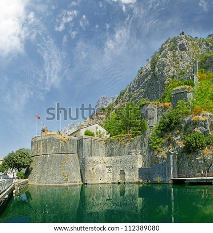 Old Fortress Walls of Kotor, Bastion Gurdic (1470), and South Gate. Montenegro, World Heritage Site by UNESCO