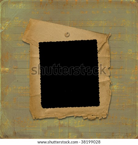 Old frame on the grunge musical background with gold notes