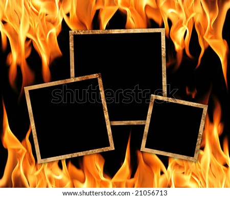 Old frames with fire flames background