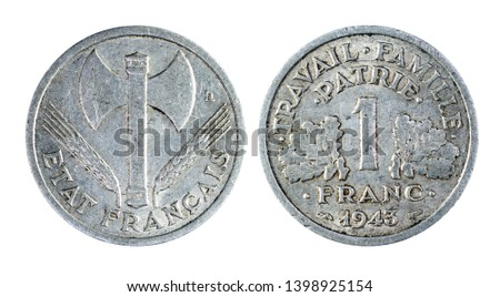 Old france coin of 1 franc of 1943 #1398925154