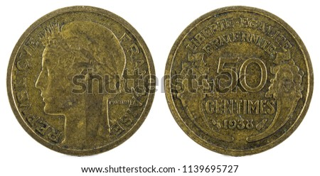 Old French coin. 50 Centimes. 1938.