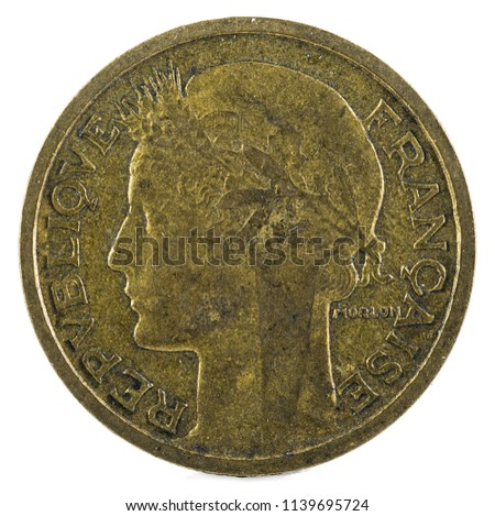 Old French coin. 50 Centimes. 1938. Obverse.