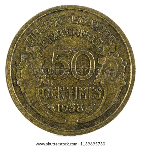 Old French coin. 50 Centimes. 1938. Reverse.