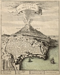 Old french engraved illustration showing the city of Catania, Sicily, at the foot of Mount Etna. Published on