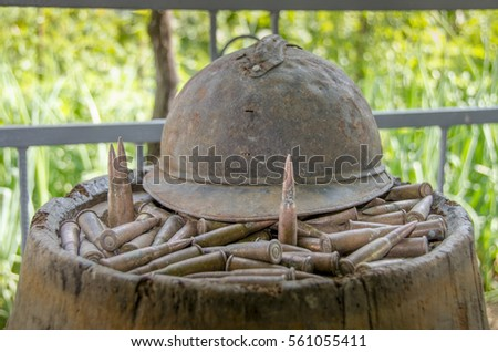 Old French First World War helmet and bullets