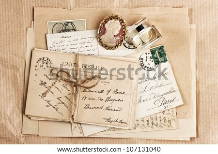 old french post cards and accessory. vintage background