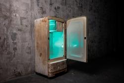 old fridge with open door