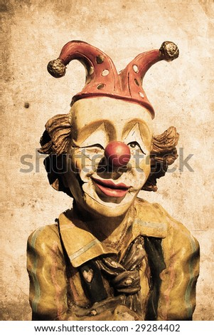 old funny clown in retro design look