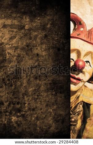 old funny clown in retro design look - stock photo