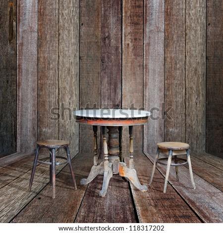 Old furniture in vintage wood room.