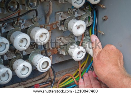 Old fuse box with ceramic fuses
