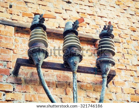 old fuses on the wall of the...