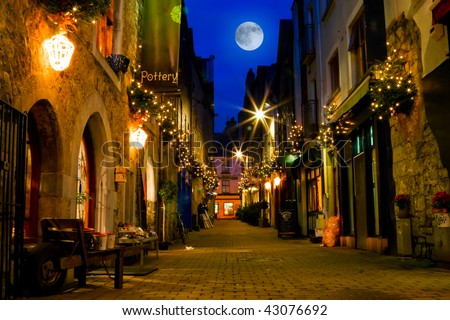 old Galway city street,Kerwan's Lane,decorated with christmas lights,night scene