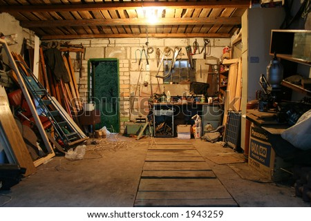 old garage full of tools and stuff