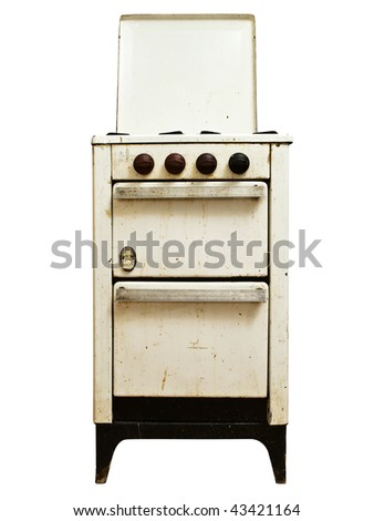 old gas cooker over the white background