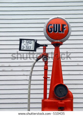 Old Gas pump displaying gasoline at 14 cents a gallon