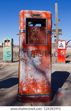 Old gas pumps on historic route 66.