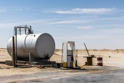 Old Gas Station in Desert Rub al Khali Oman Dhofar Region