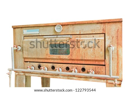 Old gas stove isolated on white background