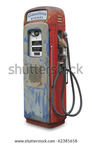 Old gasoline pump for both diesel and gas, isolated with shadow and clipping path