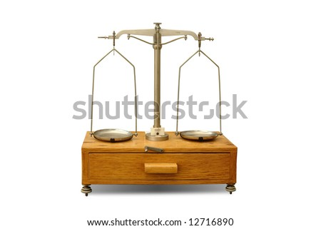 Old general laboratory balance isolated on white background