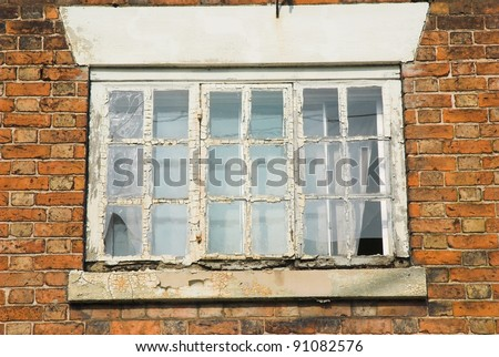 Old Georgian Window Frame In Need Of Repair Stock Photo