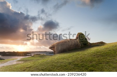 Old german bunker in Normandy, Gold beach, France.