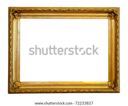 old gilded frame. Isolated over white background with clipping path