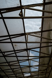 old glass ceiling of an ruin place
