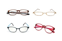 Old Glasses many types and Many Era isolated on white background.
