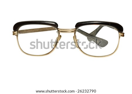 Old glasses under the white background - stock photo