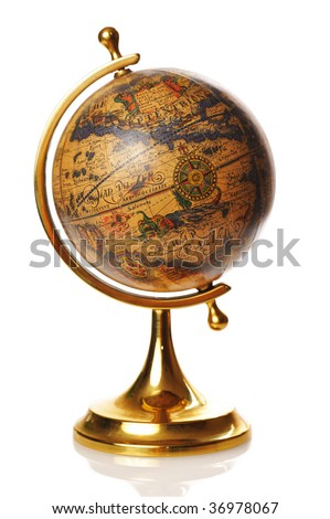 Old globe isolated on white background with reflection