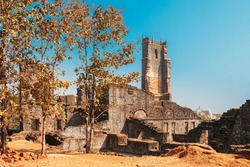Old Goa, India. Main Altar Of Church Of St. Augustine In Ruined Church Complex. Church Was Completed In 1602. World Heritage Site, Churches And Convents Of Goa.