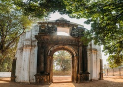 Old Goa, India. Old St. Paul's College Gate. Famous Landmark And Historical Heritage. St. Paul's College Was A Jesuit School, And Later College, Founded Circa 1542 By Saint Francis Xavier,At Old Goa