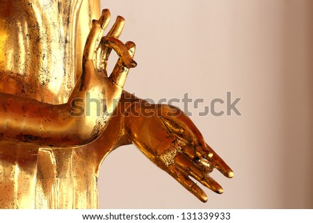 old gold Buddha hands / close up image of old gold Buddha hands/ From Wat Pho Bangkok,Thailand