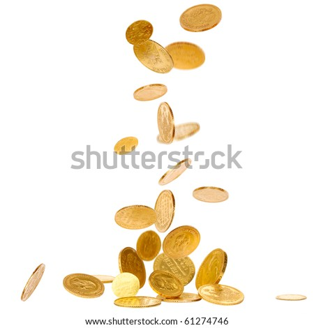 Old gold falling coins isolated on white background
