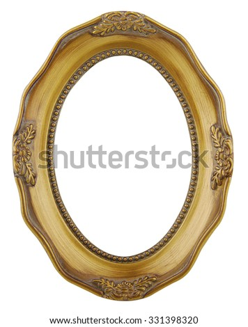 Old gold frame isolated on white