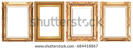 Old gold frame isolated on white background. #684418867