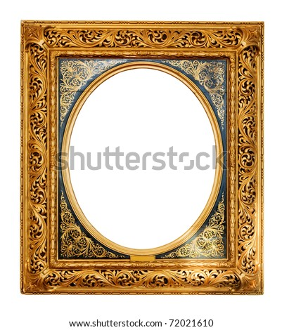 old gold frame. Isolated over white background with clipping path