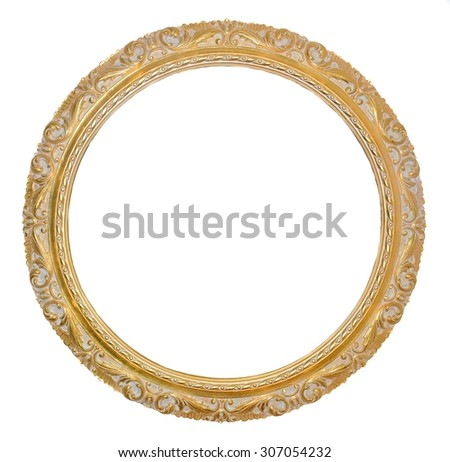 Old gold frame isolates on white