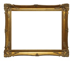 Old Gold Leaf Ornate Frame Isolated on White Background.