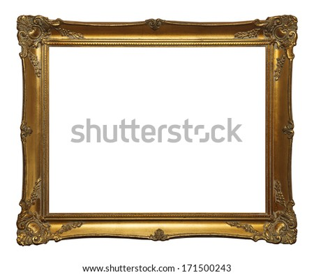 Old Gold Leaf Ornate Frame Isolated on White Background. #171500243