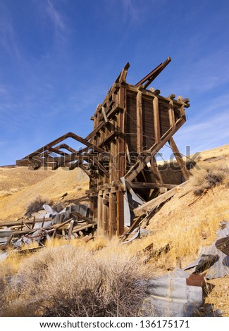 Old Gold Mine Ore Bin at Nevada Ghost Town