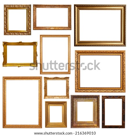 Old gold picture  frames. Isolated on white #216369010
