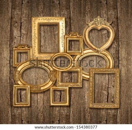 Old Wooden Picture Frames Old Golden Frame on Wooden