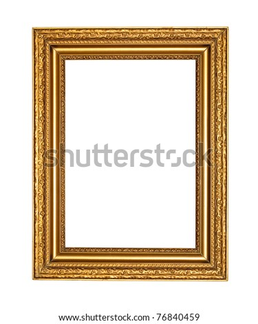Old golden frame with clipping path