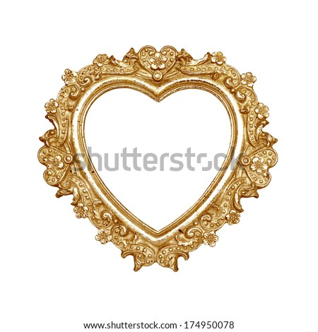 Old golden heart picture frame isolated on white with clipping path.