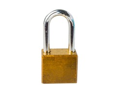 Old golden lock on white background.