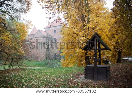 Old gothic castle in Oporow near Kutno,Poland , autumn view